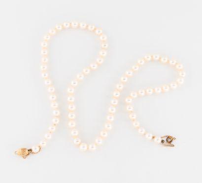 Collier de perles de culture blanches choker....