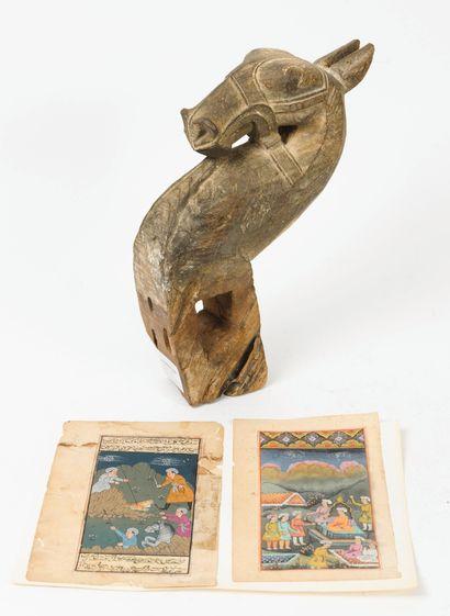 INDE, XXème siècle - La chasse au tigre - Doléances devant un Prince.  Deux miniatures...
