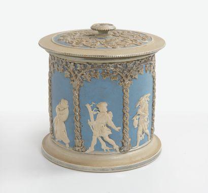 ALLEMAGNE, fin du XIXème ou début du XXème siècle Deux pots à biscuits ou à tabac...