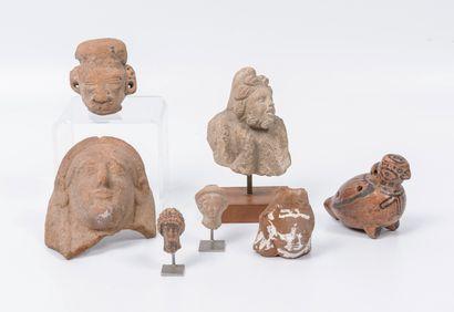 Lot d'objets de type archéologiques en pierre ou terre cuite :