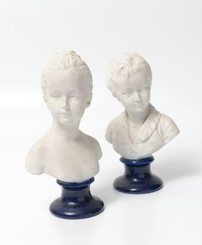 THARAUD à Limoges, d'après Jean Antoine HOUDON (1741-1828) Bustes des enfants Brongniart...