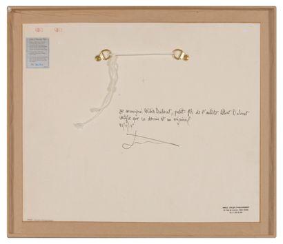 Albert DUBOUT (1905-1976) Chasse au lapin.  Encre, lavis d'encre, crayon de couleur...