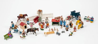 Strong lot of decoration and animals of the farmyard.  In polychrome painted lead....