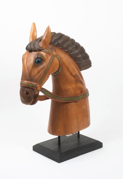 Head of a horse.  Polychrome wood sculpture....