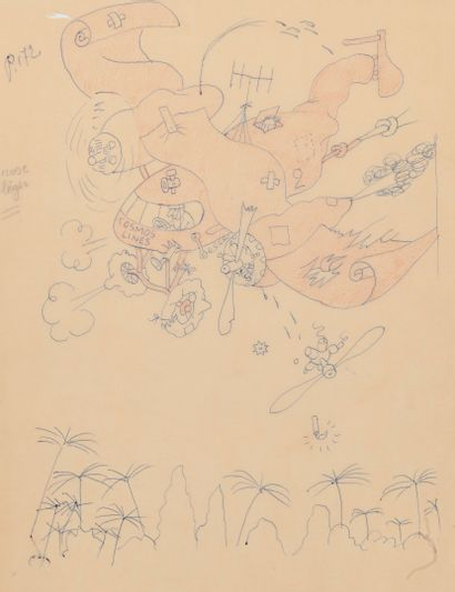 Albert DUBOUT (1905-1976) Cosmos Lines.  Graphite and ink on paper.  Unsigned.  34.3...