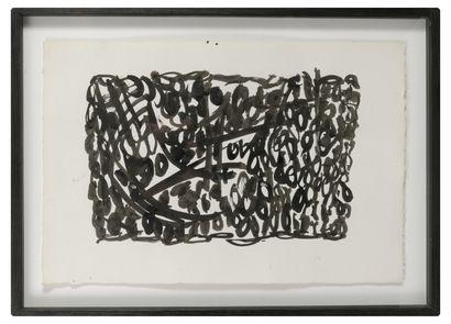 MICHEL CADORET (1912-1985) Sans titre, 1963.  Encre sur papier.  Signé et daté en...