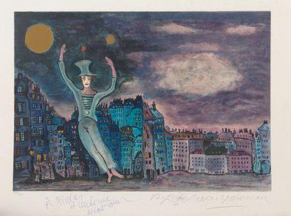 Marcel MARCEAU (1923-2007) Le clown.  Lithographie en couleurs sur papier.  Signé...