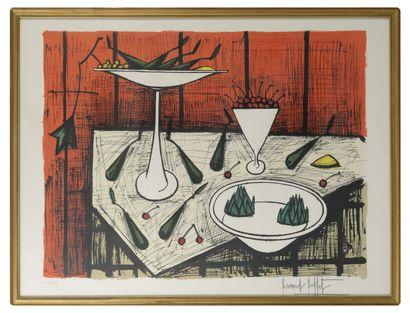 Benard BUFFET (1928-1999) Nature morte aux poires et aux cerises.  Lithographie en...