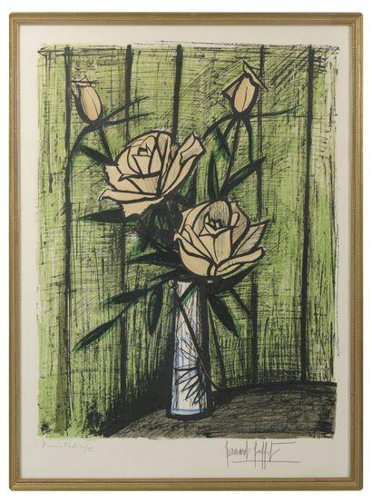 Bernard BUFFET (1928-1999) Roses, premier état, 1980.  Lithographie en couleurs sur...