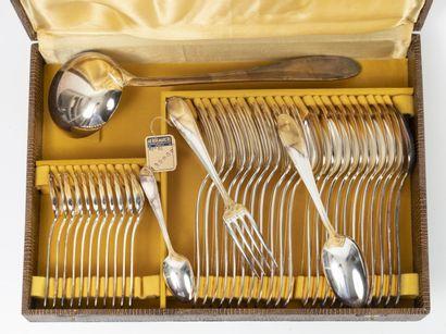 Partie de ménagère en métal argenté :  -...