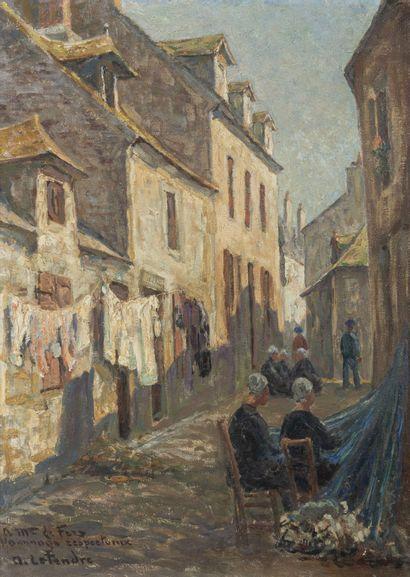 Auguste LE TENDRE (XIXème - XXème siècle) Animated street.  Oil on canvas.  Signed...