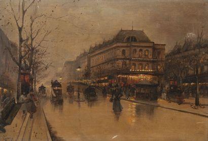 Ecole de la fin du XIXème- début XXème siècle Les grands boulevards, Paris.  Deux...