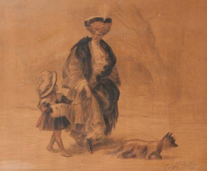 Georges Redon (1869-1943) Mère et sa fille promenant leur chien.  Estampe sur papier....