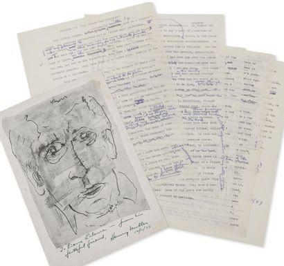 "MILLER, Henry Préface for The Waters Reglitterized.  Tapuscrit signé ""H.M. Big Sur..."