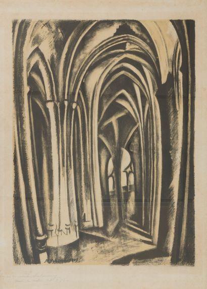 Robert DELAUNAY (1885-1941) L'Eglise Saint Séverin, 1923-25.  Lithographie en bistre...