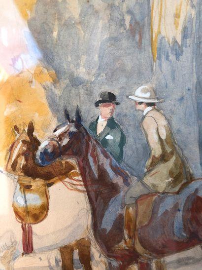 Robert Antoine PINCHON (1886-1943) La halte des cavaliers.  Aquarelle et gouache...