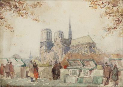 René Georges GAUTIER (1887-1969) Notre Dame de Paris, les quais.  Aquarelle sur papier....