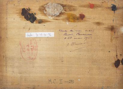 """Henri Emilien ROUSSEAU (1875-1933) Etude d'âne, """"Bibi"""".  Huile sur panneau.  Signé,..."""