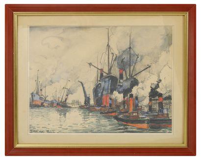 FRANK-WILL (1900-1951) Chalutiers et remorqueurs à vapeur au port.  Mine de plomb...