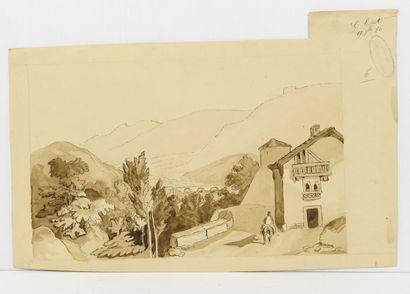Ecole du XIXème siècle Lot de trois dessins ou étude à la mine de plomb et à l'encre...