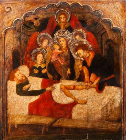 D'après Luis BOROSSA (Gérone ( ?) vers 1360 - Barcelone vers 1426) Saint Hippolytus...
