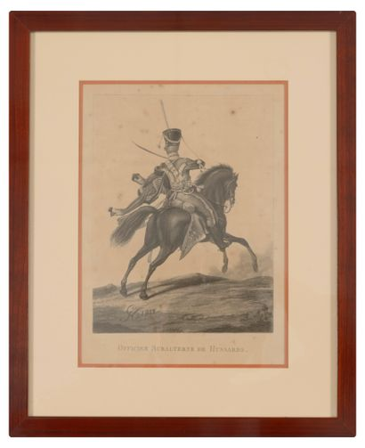 Lot of 7 engravings on the theme : Militaria.  Various sizes.  Stains, foxing and...