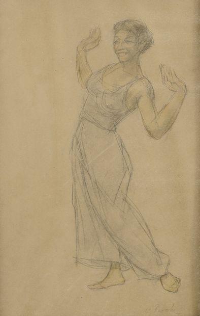 Odilon ROCHE (1868-1947) Etude de femme.  Mine de plomb et aquarelle sur papier....