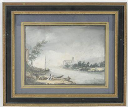 Ecole italienne dans le goût du XVIIIème siècle Paysages fluviaux animés ou marines....