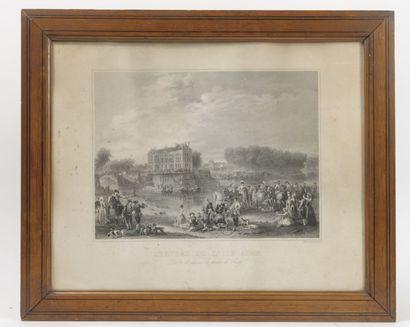 Lot comprenant : - Le Louvre sous Louis XV.  Gravure en couleurs sur papier.  22...