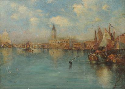 Dans le goût de Félix ZIEM Vue de Venise, le palais des Doges.  Huile sur toile....