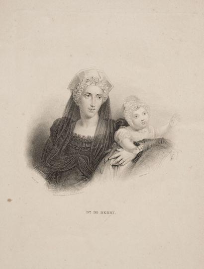 Set of three engravings on paper representing Marie Caroline Ferdinande Louise de...