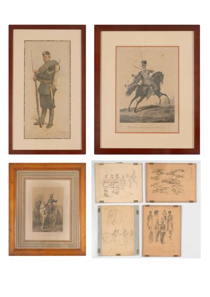 Lot de 7 gravures sur le thème : Militaria....