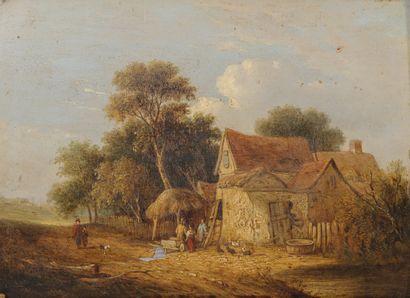 Samuel Davis COLKETT (1806-1863) Busy Farm in Norfolk.  Oil on panel.  Signed and...