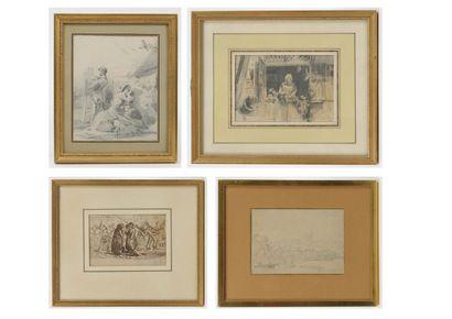 Lot  de quatre dessins du XIXème siècle :