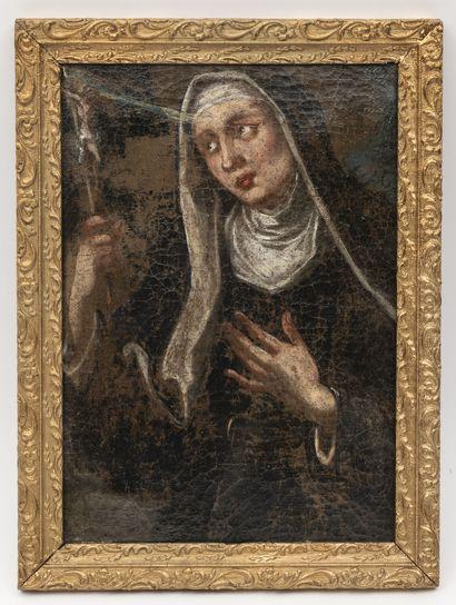 ECOLE FRANCAISE DU XIXème siècle Portrait de soeur au voile en buste tenant un crucifix,...