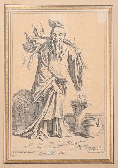 Lot de six gravures :  - Le botaniste chinois d'après l'oeuvre de François Boucher....