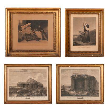 Lot de six gravures comprenant :  - La veuve du soldat.  54,5 x 41,5 cm. Sans vitre....