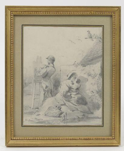 Lot de quatre dessins du XIXème siècle : - View of the city of Pozzuoli (Naples)....