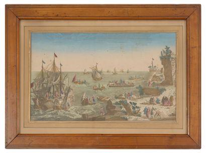 Lot de 5 gravures vues d'optique : - Barques et bateaux en bord de mer.  24 x 38.5...