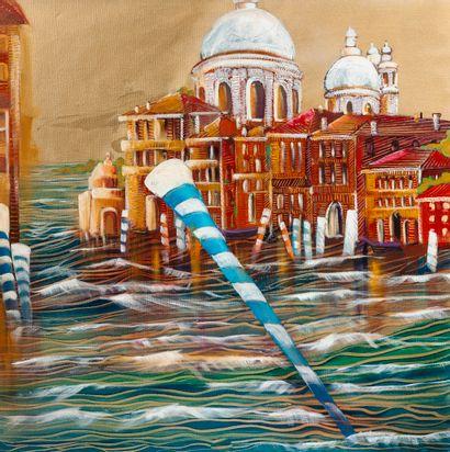 Anne Valérie DUCHATEAU (XXème-XXIème siècle) Venise.  Technique mixte sur toile....