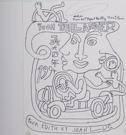 Yvon Taillandier (1926-2018) Sans titre, 1994.  Feutre sur papier marouflé sur papier....