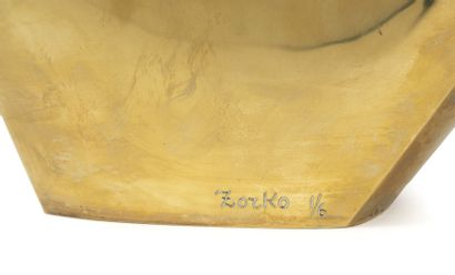 Yuri ZORKO (1937) Sans titre, circa 1975-80.  Epreuve en bronze doré.  Signée et...