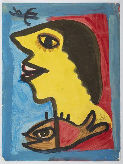 JABER (1938) Profil et poisson, 1996.  Gouache sur papier.  Signé et daté en bas...