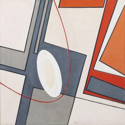 Silvano BOZZOLINI (1911-1998) Diagonales contraires, 1976.  Huile sur toile.  Signée...