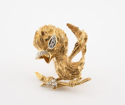 Broche oiseau branché en or jaune (750),...