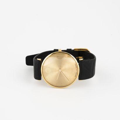 MOVADO pour Zenith Montre bracelet d'homme.  Boîtier rond en or jaune (750)  Cadran...