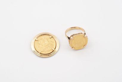 Lot en or jaune (750) comprenant :  - Bague...
