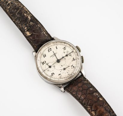 UNIVERSAL, Genève Montre bracelet d'homme  Boîtier rond en acier.  Cadran à fond...