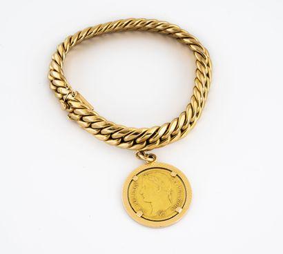 Bracelet en or jaune (750) à maille anglaise,...
