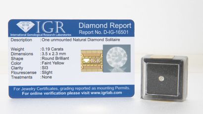 Diamant sous scellé 0.19 carat.  Faint Yellow....